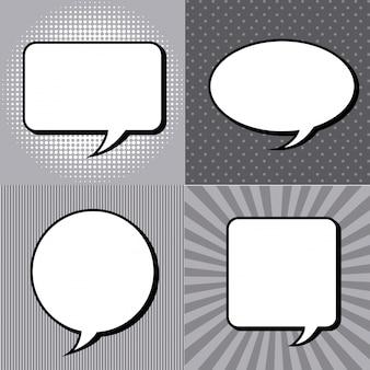 Комические иконки над гранж фон векторные иллюстрации