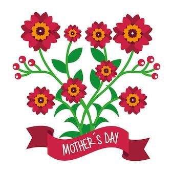 Симпатичные цветы букета декоративные мамы день баннер