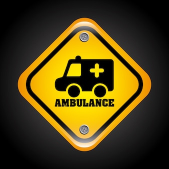 黒背景ベクトル図上の救急車の信号