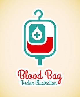血液バッグ、ピンクの背景ベクトル図
