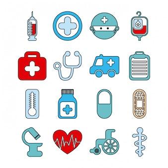 Здоровые иконки на белом фоне векторные иллюстрации