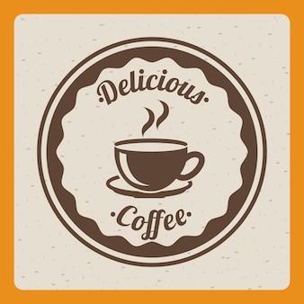 灰色の背景にベクトルデザインのコーヒーデザイン