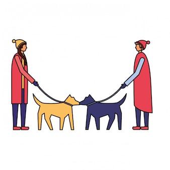 男と女が犬を歩いている