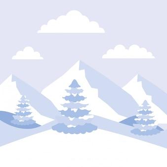 冬の山脈アルプスと松の木