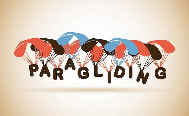 Параглайдинг дизайн на бежевом фоне векторных иллюстраций