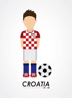 クロアチアのデザインは、灰色の背景ベクトル図