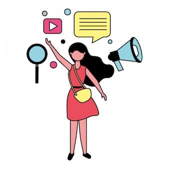 ソーシャルメディアのアイコンを持つ女性