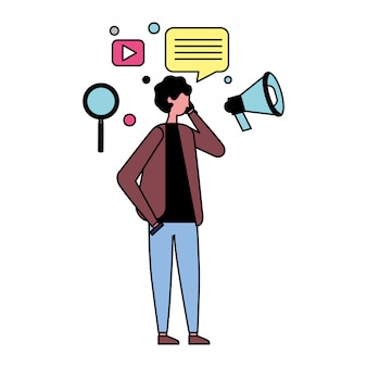 Человек с помощью значков мобильных и социальных медиа