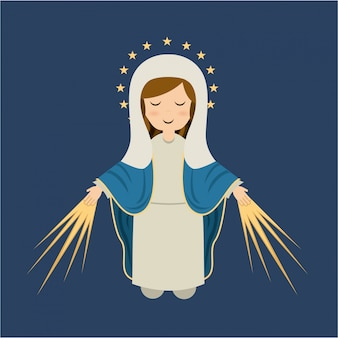 青い背景のベクトルイラスト以上の聖マリアのデザイン