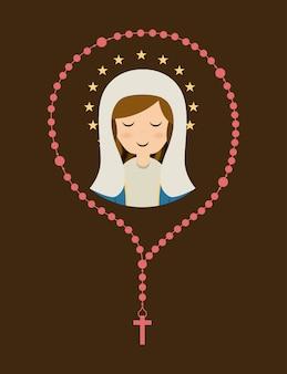 聖なるメアリーのデザインは、茶色の背景ベクトル図