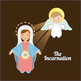 Святой марии дизайн на коричневом фоне векторных иллюстраций