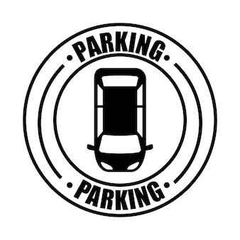 駐車場、信号、白、背景、ベクトル、イラスト
