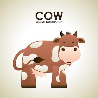 灰色の背景ベクトルのイラスト以上の牛のデザイン