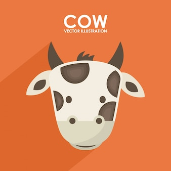 オレンジの背景に牛のデザインベクトル図