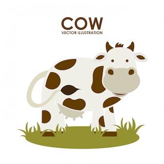 白背景ベクトルのイラストを介して牛のデザイン