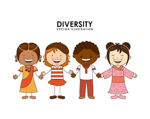 白い背景の上の人種の多様性