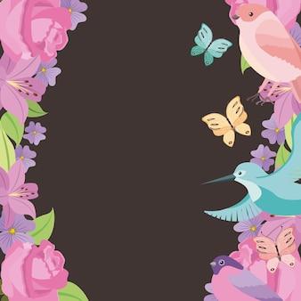 花のフレームバラの鳥の蝶の背景