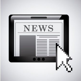 灰色の背景ベクトル図上のニュースデザイン