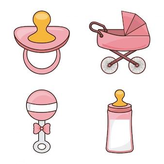 白背景ベクトル図の上に赤ちゃんのデザイン
