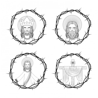 Набор священного креста иисуса с терновыми венцами рука рисунок