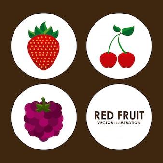 茶色の背景ベクトルのイラスト以上の果物のデザイン