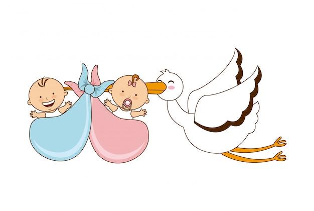 Новорожденным, открытки с рождением близняшек мальчика и девочки