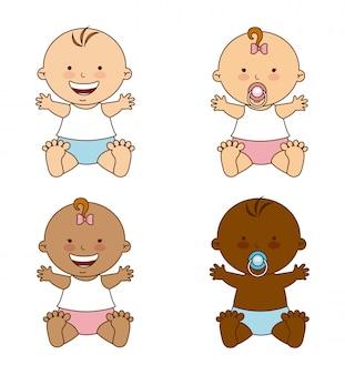 Детский дизайн на белом фоне векторные иллюстрации