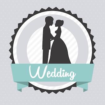グレーの背景ベクトルのイラスト以上の結婚式のデザイン