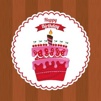 Дизайн дня рождения над деревянной иллюстрацией вектора предпосылки