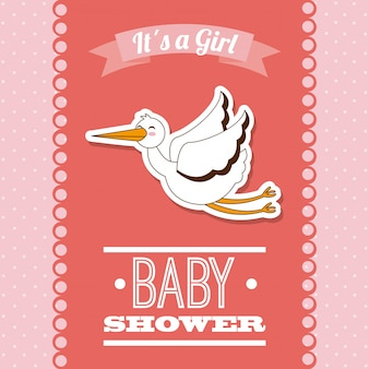 ピンクの背景ベクトル図の上に赤ちゃんのデザイン