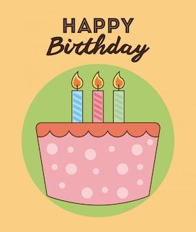 День рождения дизайн на розовом фоне векторных иллюстраций