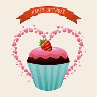 ピンクの背景ベクトルのイラスト以上の誕生日のデザイン