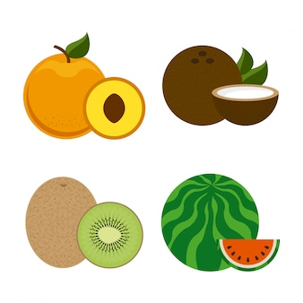 Дизайн фруктов на белом фоне векторные иллюстрации
