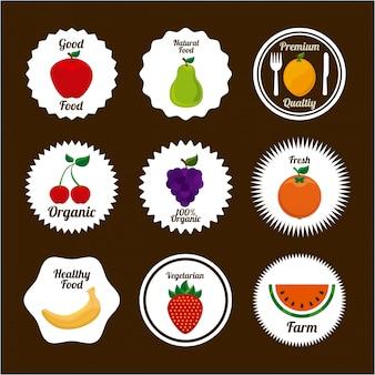 茶色の背景ベクトル図の上に果物のデザイン