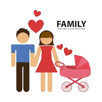 家族グラフィックデザインのベクトル図