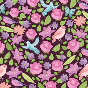 Фон с птицами и цветами