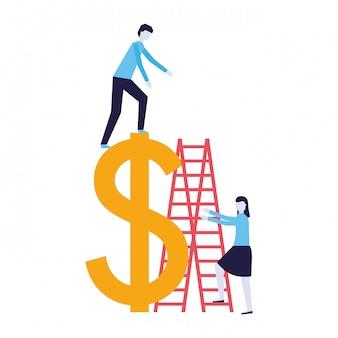 ビジネス人階段ドル記号