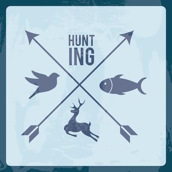 Дизайн охоты на синем фоне векторных иллюстраций
