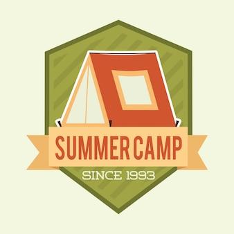 白い背景の上のキャンプデザインベクトルイラスト