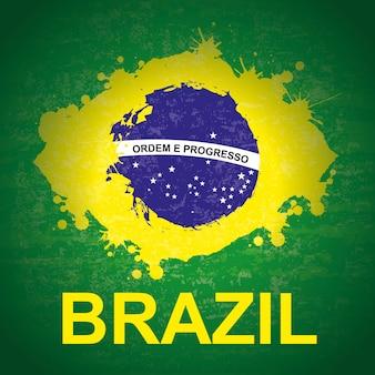 緑の背景のベクトル図の上のブラジルのデザイン