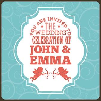 青い背景のベクトル図の上の結婚式のデザイン