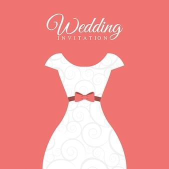 ピンクの背景のベクトル図の上の結婚式のデザイン