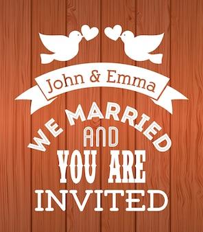 木製の背景のベクトル図の上の結婚式のデザイン
