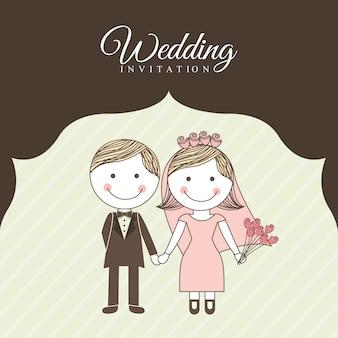 茶色の背景のベクトル図の上の結婚式のデザイン