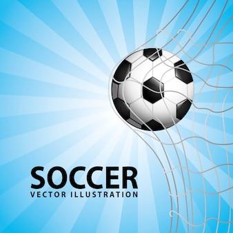 青い背景ベクトルイラストサッカーデザイン
