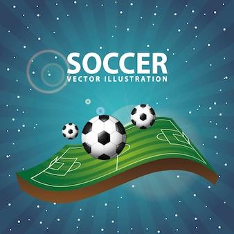 夜背景ベクトルイラストサッカーデザイン