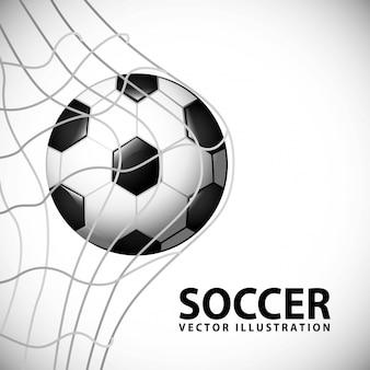 灰色の背景ベクトルイラストサッカーデザイン