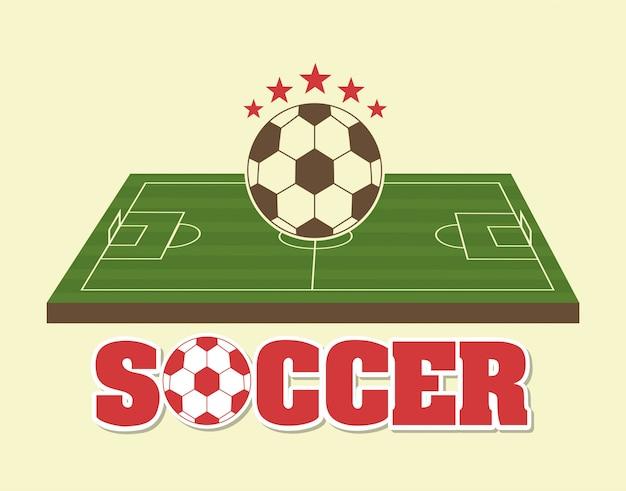 クリーム色の背景ベクトルイラストサッカーデザイン