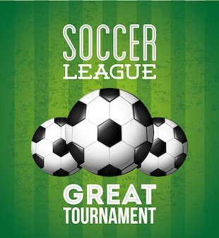 緑の背景のベクトル図の上のサッカーデザイン