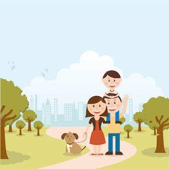 風景の背景ベクトルイラスト上の家族のデザイン